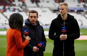 West Ham United's Joe Hart with Sky Sports' Gary Neville before the match.