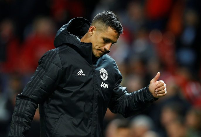 Manchester United's Alexis Sanchez reacts after the match.