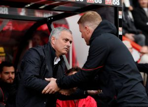 MUFC manager Jose Mourinho shakes hands with Bournemouth manager Eddie Howe before the match.