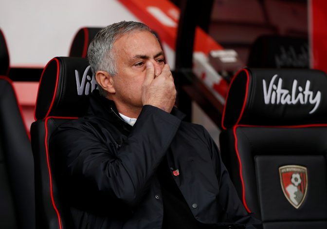 Manchester United manager Jose Mourinho before the match.
