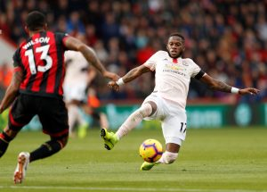 Bournemouth's Callum Wilson in action with Manchester United's Fred.
