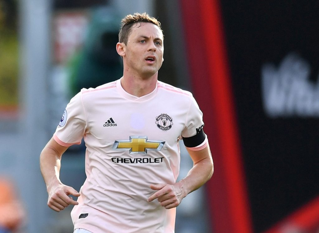 Nemanja Matic wears a shirt without a remembrance poppy during the match.