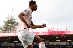 Manchester United's Marcus Rashford celebrates scoring their second goal.