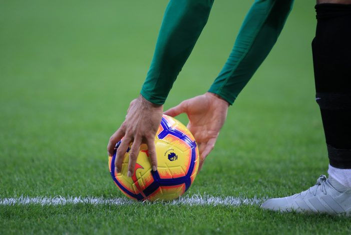 General view as a player picks up the match ball during the match.
