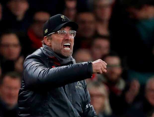 Liverpool manager Jurgen Klopp reacts during the match.