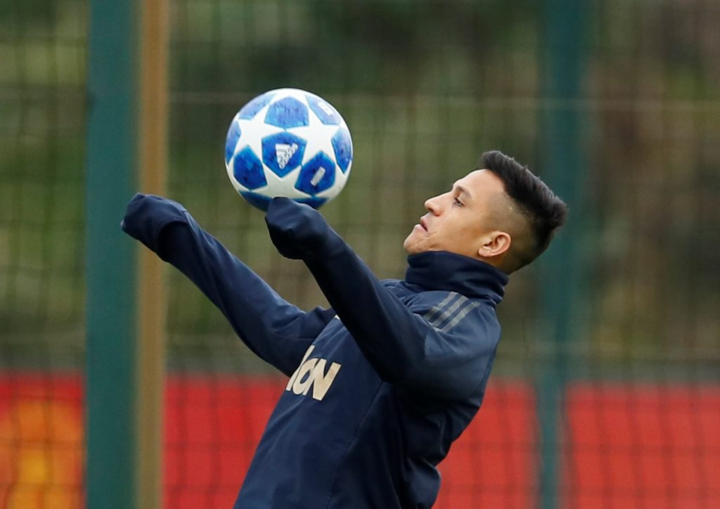 Manchester United's Alexis Sanchez during training.