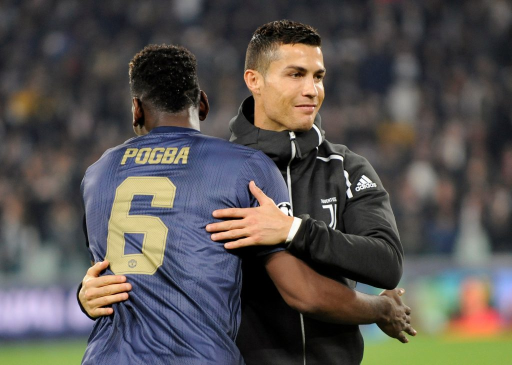 Paul Pogba with Cristiano Ronaldo before the match.