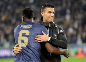 Paul Pogba with Cristiano Ronaldo before the match.
