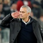 Man Utd manager Jose Mourinho gestures to Juventus fans after the match.