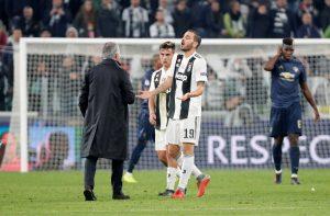 Juventus' Leonardo Bonucci reacts to Jose Mourinho after the match.