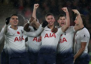Tottenham's Juan Foyth celebrates scoring their first goal with team mates.