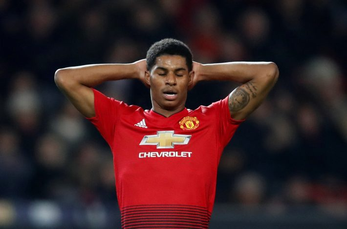 Manchester United's Marcus Rashford reacts.