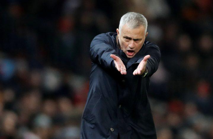 MUFC manager Jose Mourinho reacts.