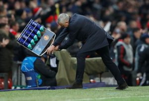Man Utd manager Jose Mourinho reacts as he celebrates the winner.