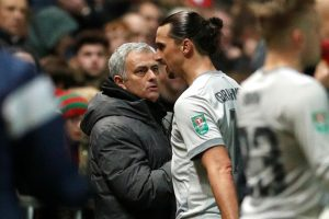 MUFC manager Jose Mourinho shakes hands with Zlatan Ibrahimovic as he is substituted.