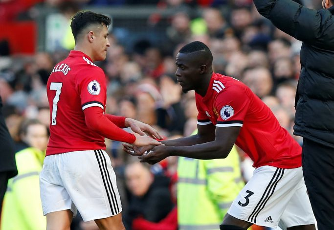 Manchester United's Eric Bailly comes on as a substitute to replace Alexis Sanchez.
