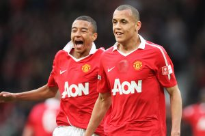 Ravel Morrison (R) celebrates with Jesse Lingard after scoring Manchester United's first goal.