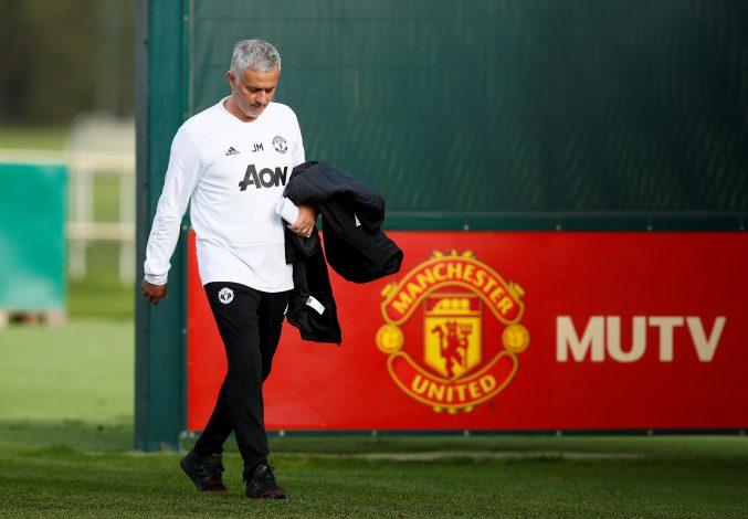Jose Mourinho during training.