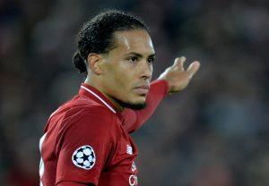 Liverpool's Virgil van Dijk gestures.