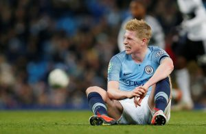 Man City's Kevin De Bruyne after sustaining an injury.