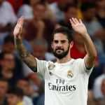 Real Madrid's Isco celebrates scoring their first goal.