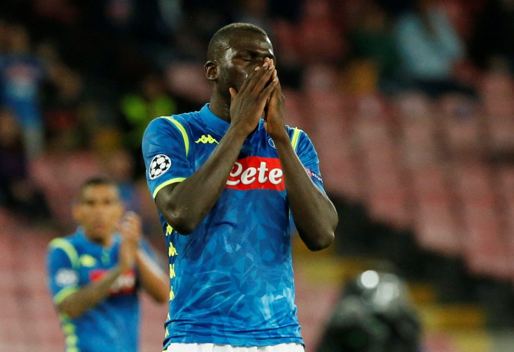 Soccer Football - Champions League - Group Stage - Group C - Napoli v Liverpool - Stadio San Paolo, Naples, Italy - October 3, 2018  Napoli's Kalidou Koulibaly reacts   REUTERS/Ciro De Luca - RC19C5C0CEC0