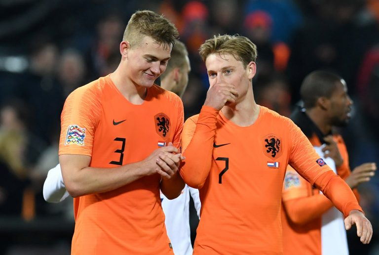 Netherlands' Matthijs de Ligt and Frenkie de Jong after the match.