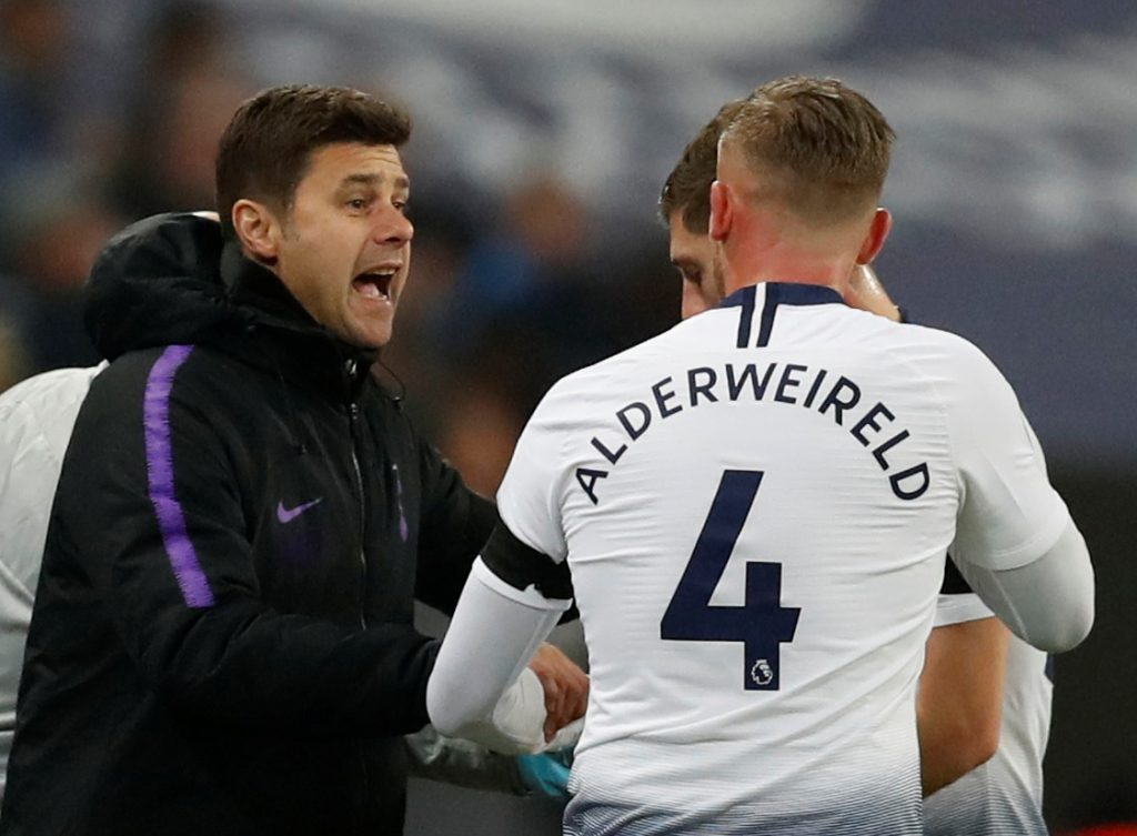 Tottenham's Toby Alderweireld receives instructions from manager Mauricio Pochettino.