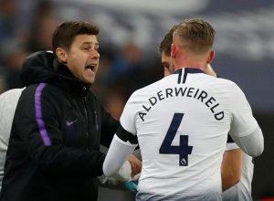 Tottenham's Toby Alderweireld receives instructions from manager Mauricio Pochettino.