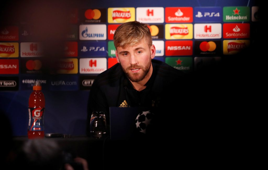 Manchester United's Luke Shaw during the press conference.