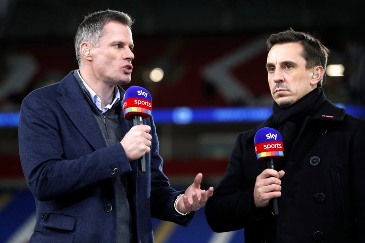 Jamie Carragher and Gary Neville perform media duties before the match.