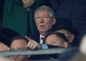 Sir Alex Ferguson in the stands before the match.