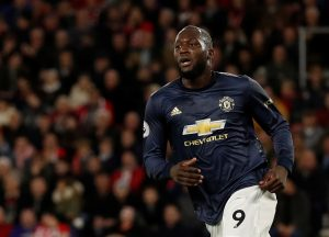 Manchester United's Romelu Lukaku celebrates scoring their first goal.
