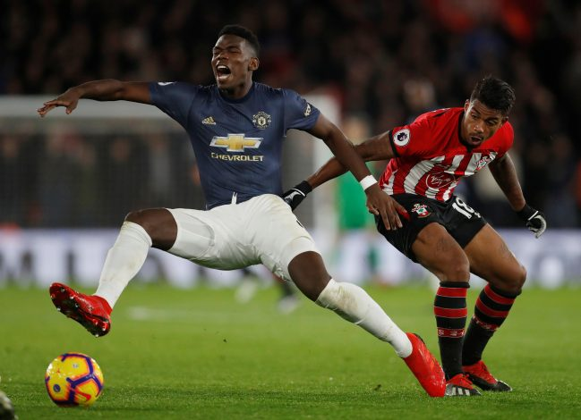 Paul Pogba in action with Southampton's Mario Lemina.