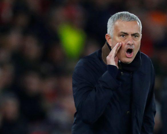 Man Utd manager Jose Mourinho reacts.