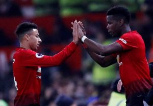 Manchester United's Paul Pogba comes on as a substitute to replace Jesse Lingard.