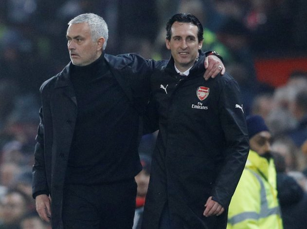 MUFC manager Jose Mourinho with Arsenal manager Unai Emery after the match.