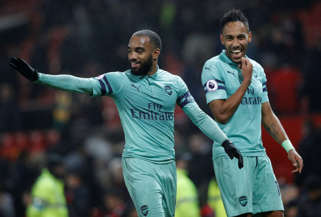 Arsenal's Alexandre Lacazette and Pierre-Emerick Aubameyang after the match.