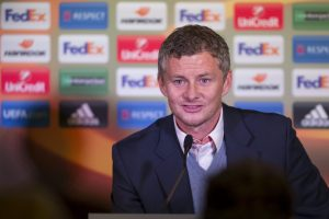 Molde's manager Ole Gunnar Solskjaer attends a news conference after their Europa League Group A soccer match against Celtic.