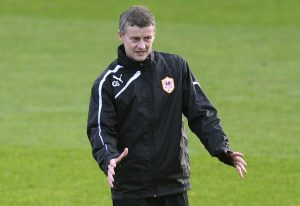 Ole Gunnar Solskjaer gestures during his second training session at the Vale hotel in Hensol, Vale of Glamorgan, Wales, January 10, 2014.