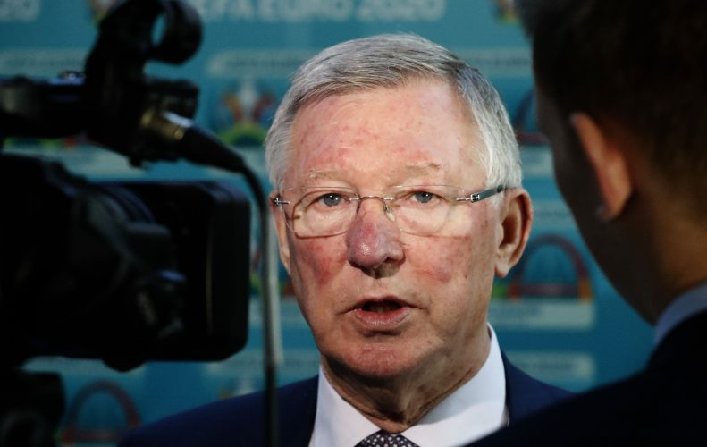 Sir Alex Ferguson speaks to the media during the UEFA Euro 2020 Glasgow Logo Launch.