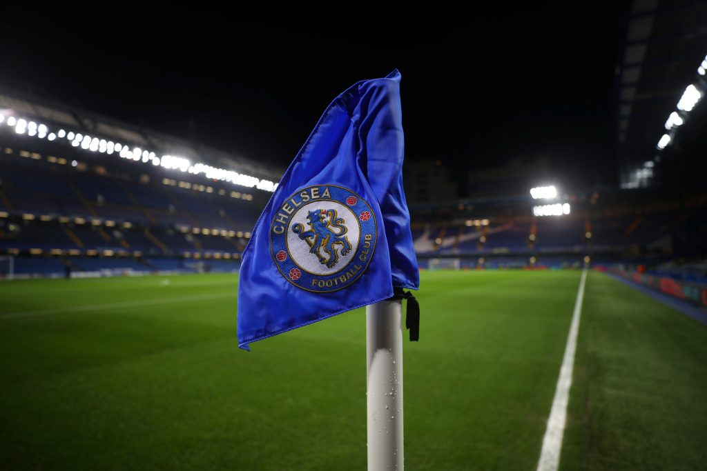 General view of the Chelsea crest on the corner flag inside the stadium before the match.