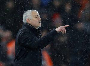 MUFC manager Jose Mourinho gestures.