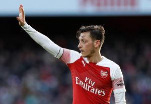 Arsenal's Mesut Ozil gestures.