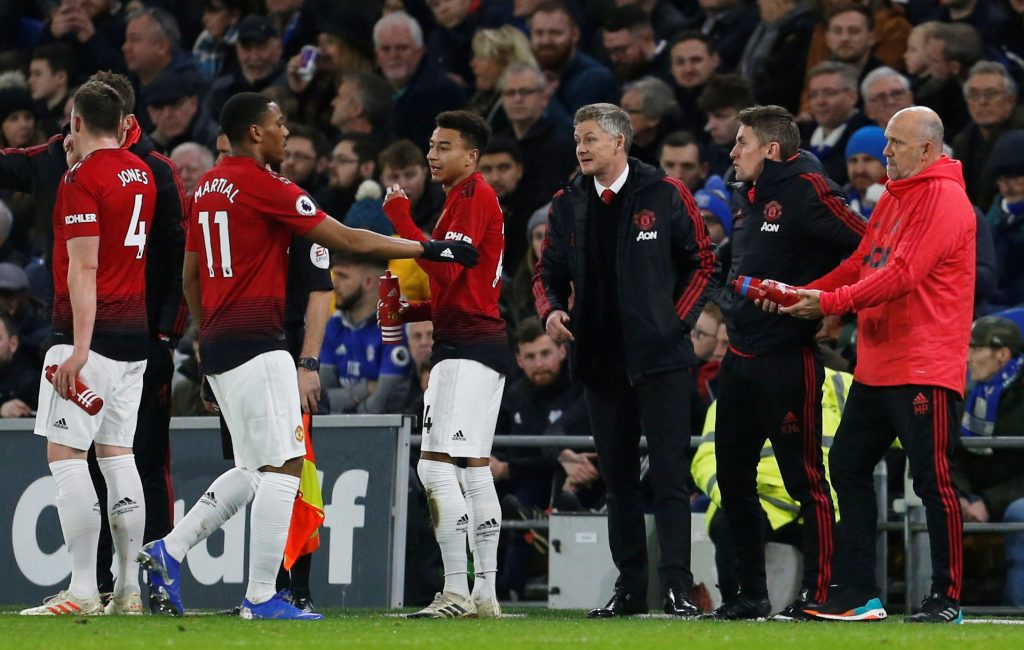 Man Utd interim manager Ole Gunnar Solskjaer with Anthony Martial and Jesse Lingard.