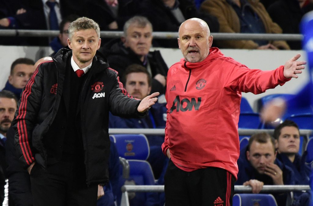 Manchester United interim manager Ole Gunnar Solskjaer with assistant coach Mike Phelan.