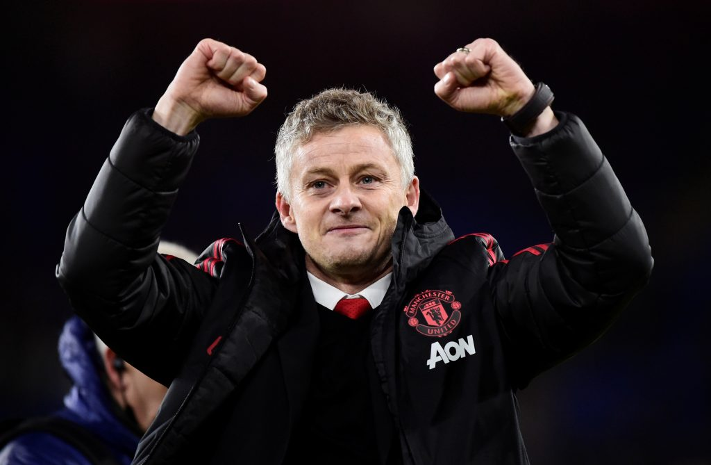 MUFC interim manager Ole Gunnar Solskjaer celebrates after the match.