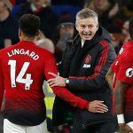 Man Utd interim manager Ole Gunnar Solskjaer celebrates after the match with Jesse Lingard.
