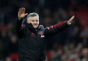 Manchester United interim manager Ole Gunnar Solskjaer celebrates after the match.