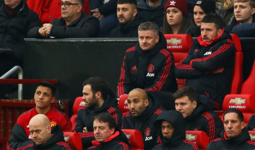Ole Gunnar Solskjaer, assistant coach Michael Carrick, Alexis Sanchez, Juan Mata, Lee Grant and Victor Lindelof on the bench during the match.